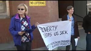 Peterborough healthcare providers join rally over social assistance cuts