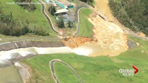 Aerial footage shows extent of the damage at dam in Puerto Rico