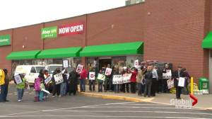 Protesters allege racial profiling at Sobeys (02:06)