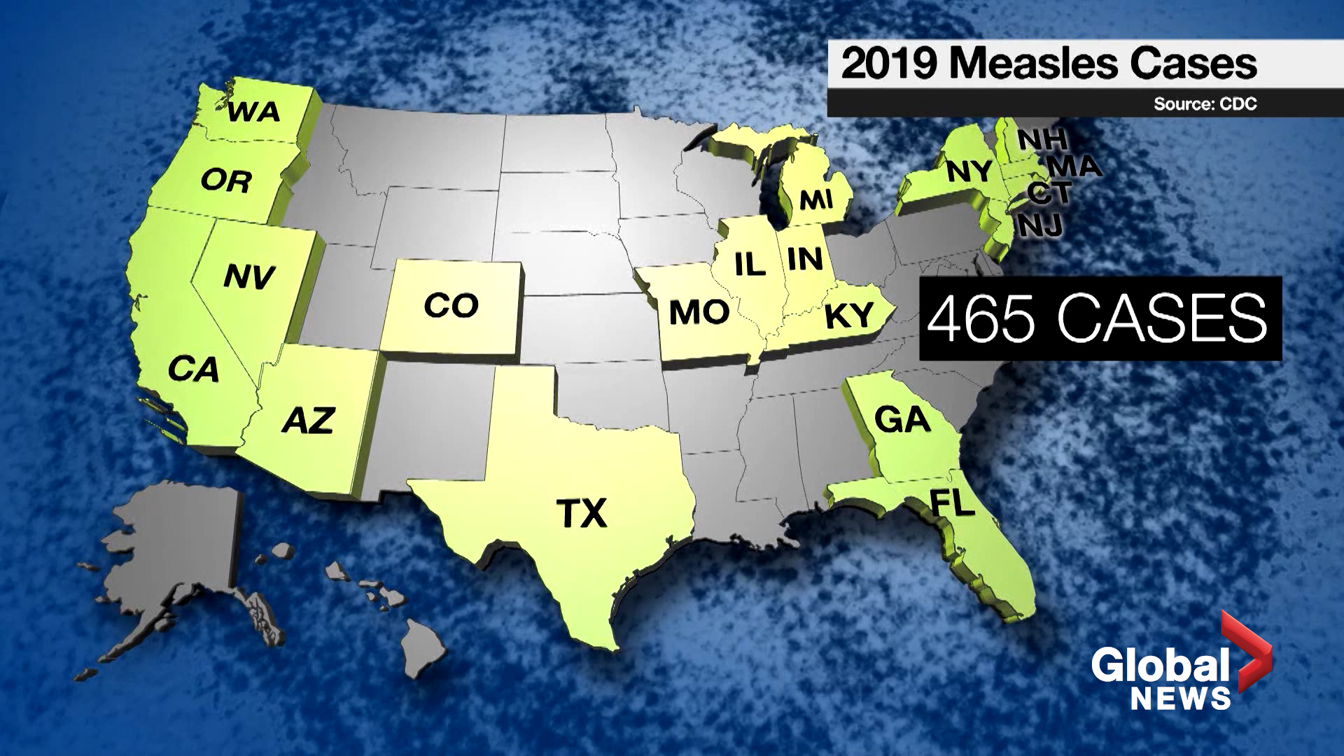 Measles cases rose nearly four-fold in first quarter 2019