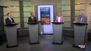 Alberta party leaders debate relationship with Ottawa and pipelines (04:42)