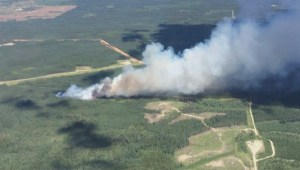 Wildfire burns out of control southeast of Hinton, Alberta