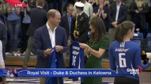 Students present volleyball jerseys to Prince William and Kate at UBC Okanagan