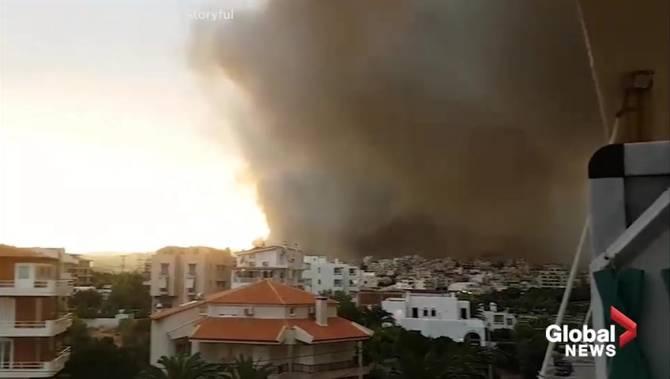 Greece wildfires: Hugging bodies found near beach as death toll