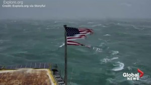Hurricane Florence: Americans captivated by live stream of tattered American flag