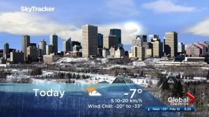 Edmonton early morning weather forecast: Monday, February 12, 2018