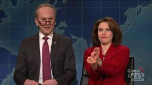 Chuck Schumer, Nancy Pelosi gloat over border wall negotiations on SNL Weekend Update