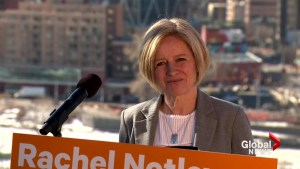 Notley responds to questions on Jason Kenney's past and what he can do moving forward