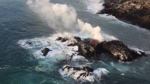 Lava island forms off coast of Hawaii