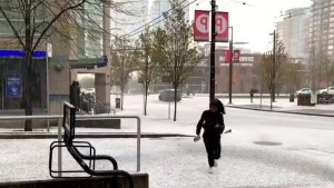 Vancouver hail storm sends people running as ice pellets cover city