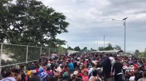 Migrant caravan arrives at Mexico border