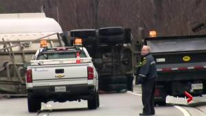 Tractor trailer spills thousands of litres of fuel in Caledon ,threatens waterways (01:12)