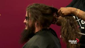 Concordia University football player cuts long locks for cancer