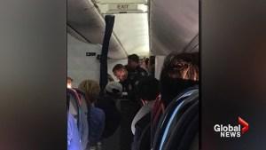 Delta flight attendants break two wine bottles over head of unruly passenger