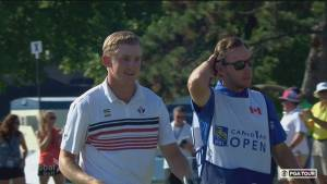 Canadian Jared du Toit eagles 18th hole to put him into Sunday's final pairing