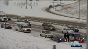 Extreme cold and snow makes roads slick in Calgary