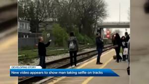 Video shows 2 taking selfies while on Kitchener GO Train tracks (01:46)