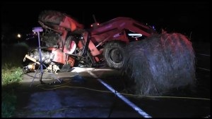 One killed after farm tractor and pickup collide near Brighton