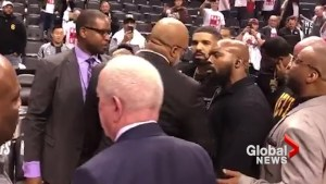 Drake and Cleveland Cavaliers player involved in heated exchange of words during Game 1
