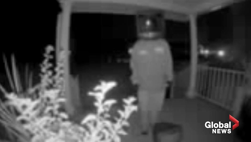Man wearing TV on his head spotted leaving old TVs on porches