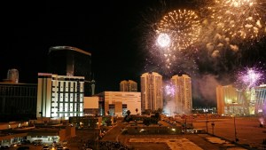 Famed Las Vegas Strip casino demolition highlighted by epic fireworks display