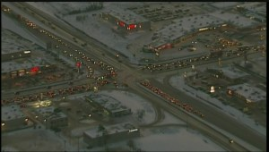 RAW: Three vehicle crash involving firetruck holds up traffic in Transcona