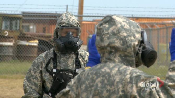Troops partake in NATO chemical training exercise at CFB Suffield in southern Alberta