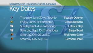 Riders' 2016 schedule released