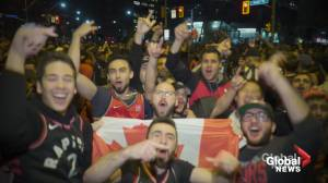 Raptors' fans whoop it up after team claims first ever championship