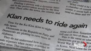 Town residents react to editorial where an Alabama editor urges the K.K.K. to 'ride again'