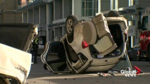 Man in life-threatening condition after rollover in downtown Calgary