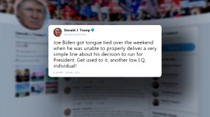Trump mocks Biden after former VP almost revealed he's running, calls him 'another low IQ person'