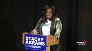 Crowd erupts into chants of 'you get a vote' as Oprah Winfrey introduces Stacey Abrams