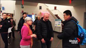 Shocking video shows man kicking librarian at B.C. community meeting