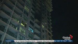 Balcony fire forces dozens to evacuate condo building in Southwest Calgary Saturday