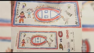 Young hockey player designs ticket for Montreal Canadiens