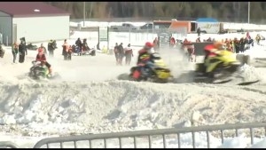 Snowmobiler races for Autism awareness