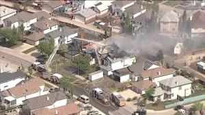 Global1 footage of multi-home fire in Coventry Hills