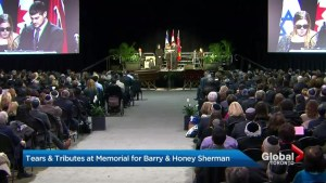 Thousands turn out for the memorial service for Canadian billionaires Barry and Honey Sherman