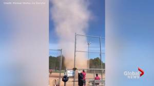 Dust devil interrupts  Barrie charity softball match