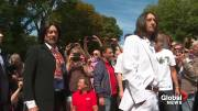 Play video: Beatles' fans flock to Abbey Road for album cover's 50th anniversary