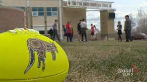 Canadian rugby community introduces sport to students at Tsuu T'ina Junior Senior High School near Calgary