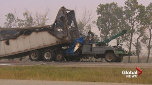 Fatal crash on Highway 1 near Strathmore