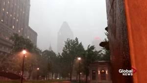 Rain hits Montreal (00:13)
