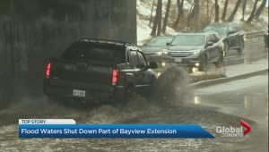 Rainy weather leads to flooding on Bayview Extension