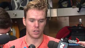 Oilers speak to reporters after winning home opener against the Flames