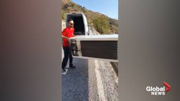 Man forced to drag fridge out of ravine after he tried to dump it