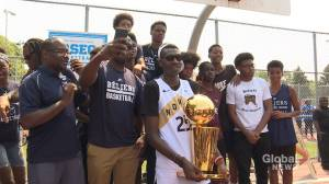 Hometown hero Chris Boucher brings NBA trophy to Montreal