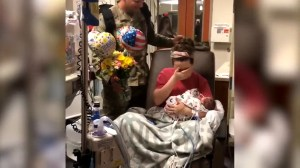 Viral video show wife's surprise as soldier husband returns for birth of twins