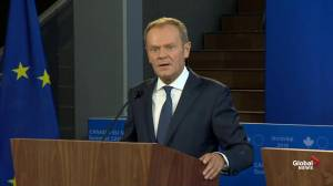 Donald Tusk takes swipe at Trump 'I didn't hear anyone shouting send him back'